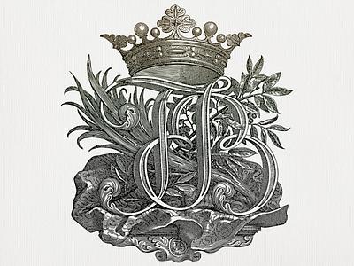 JFB ... lettering crown line art ex libris logo monogram vectorart vector illustration