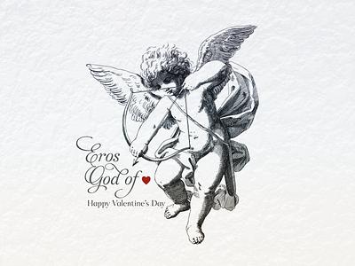 EROS ... lineart love eros cupid amor vector illustration typo typography vector graphic illustration