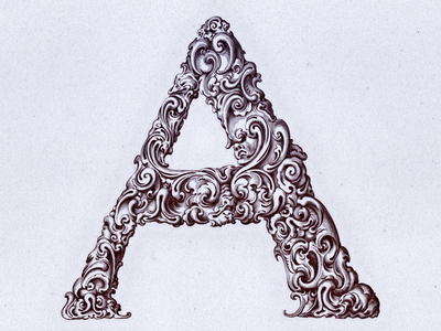 Ornamental Letter A typo ornamental letter initial vectorgraphic vector illustration