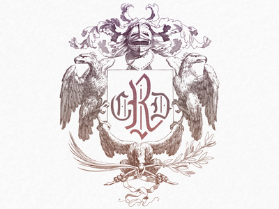 CRD Cret ... vector monogram heraldic crest typography logo illustration vector graphic