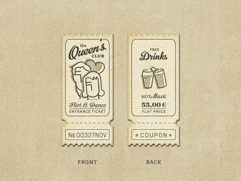 Queen's Club Coupon ... typography typo type lettering vector graphic retro vintage coupon ticket