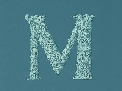 Fancy »M« Cap ... fancy alphabet drop cap vector graphic custom lettering custom type typo typography