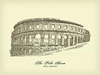 The Pula Arena ... illustration croatia pula amphitheatre arena vector graphic