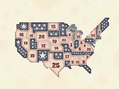 U.S. Advent Calendar 2017 ... vintage grungy retro advent calendar vector graphic typography