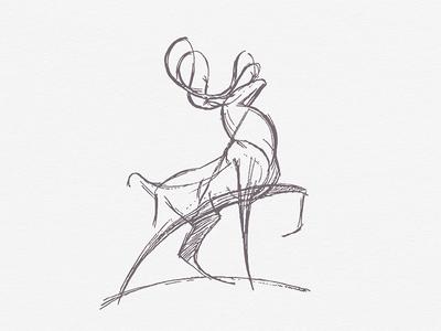 Deer .. line art deer illustration vector graphic