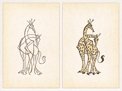 Giraffes .. grungy retro giraffe vector graphic illustration