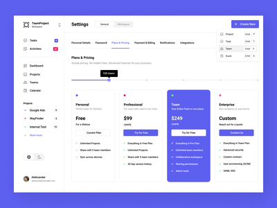 Dasboard - Plans and Pricing page plans pricing blue webapp dashboard app white ui design minimal