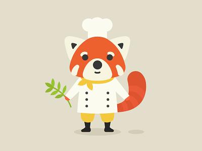 Illustration: Red Panda Chef bamboo chef red panda flat illustration character