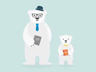 Illustration: Polar Bear Family fish salmon glassed reading bear flat animal character illustration