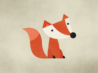 Illustration: Fox with a rounded nose texture fox flat animal character illustration