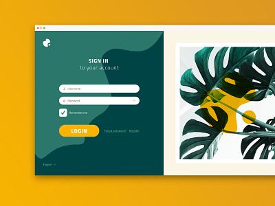 Login Concept - V1 mobile ui mobile leaves sign in form yellow vector web ux ui green desktop login
