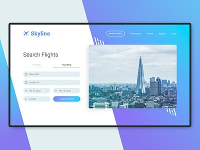 Skyline Flight Booking Website xd uk london purple blue uidesign ux ui webdesign form booking flight