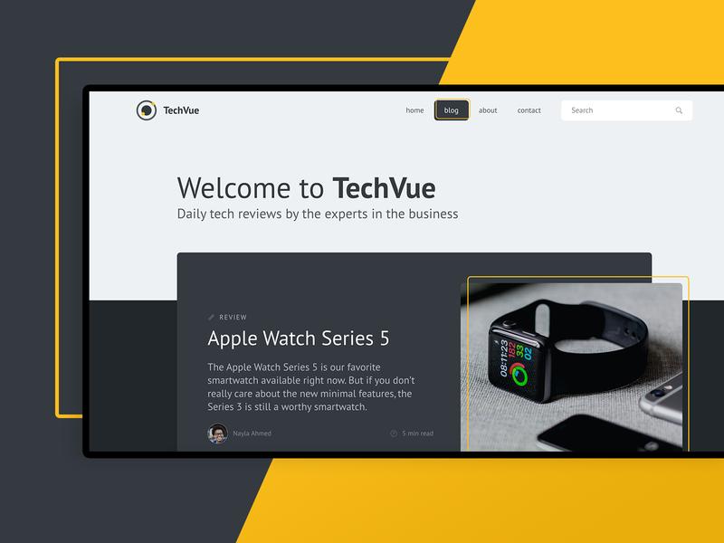 Tech Blog UI Concept design app dark mode yellow blog web design ui design uiux ux ui tech