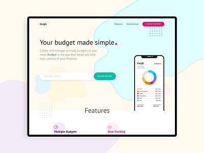 App / Product Website UI Concept product design finance blobs pastel features site website webdesign apps budget ux ui uiux product app