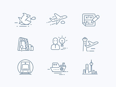 Icon design of architectural planning website train subways skyline ship people idea icon fish design building airport aircraft
