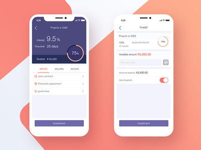 Financial app details page and purchase page iphone x transactions savings money financial app ux ui mobile ios events activities