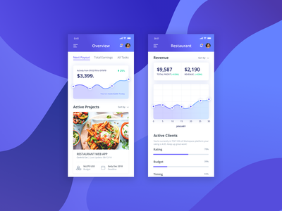 Restaurant Management Mobile App blue iphone xr iphone xs max iphone xs mock up android ios modern clean white shot design flat user interface iphone x mobile app application user experience ui ux