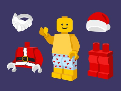Lego Santa dress up game character christmas card hike one illustration design lego santa illustration