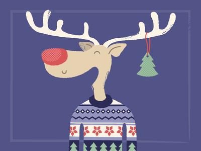 Reindeer in Christmas sweater christmas sweater vector hike one illustration reindeer christmas card