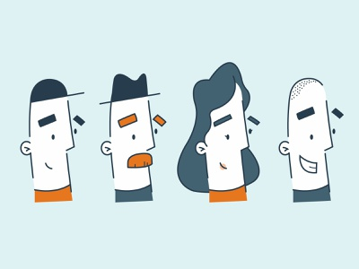 Faces hike one simplicity vector branding character illustration