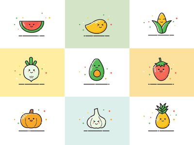 icon about MBE style smile happy illustrations cute vegetables fruits icon illustration app flat