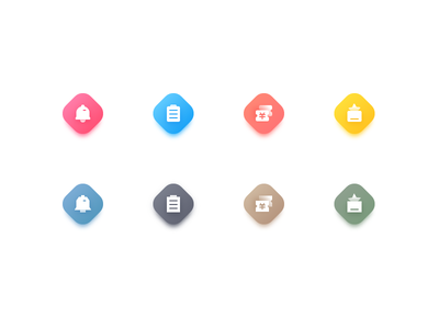 two styles of icon color minimalists cute clean icon design flat