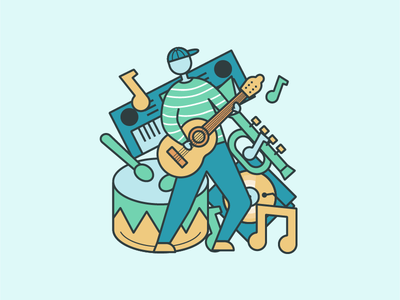 music line icon music illustration icon clean design app flat