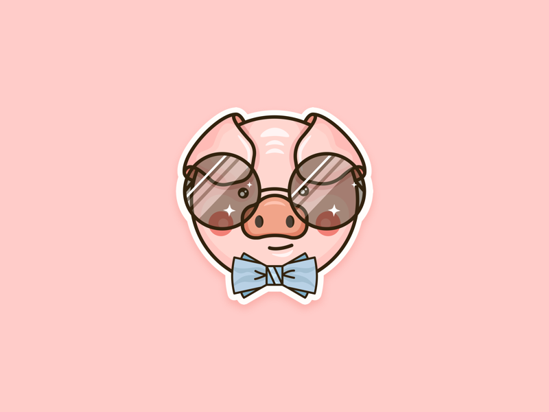 Pig icon funny character mascot drawing ipad outline animal pig vector cute illustration clean flat