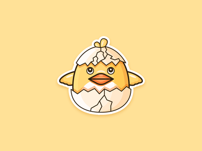 chick outline mascot funny animal cute minimalist icon vector design flat