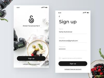 Sa Photography Signup Screens