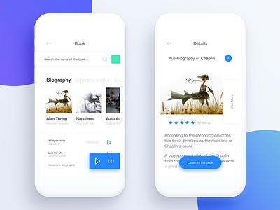 Books app Concept hear read concept app books ui