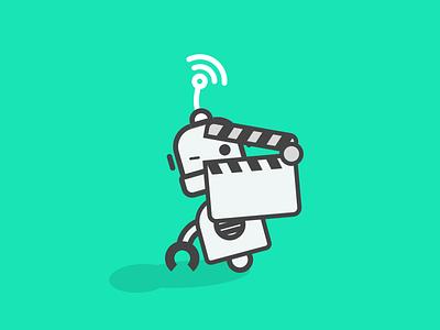 Lights, camera... clap! gotowebinar illustration robot clapper movie