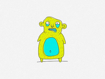 creature bear 1/3 draw doodle illustration sketch crazy weird neon bear monster creature