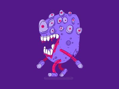 walking eye monster illustration walking teeth doodle sketch weird creature monster eye