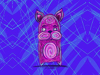 cosmic dog creature 1/3 ipad doodle sketch art illustration monster creature dog cosmic