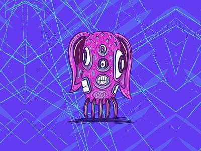 cosmic dog creature 2/3 ipad doodle sketch art illustration monster creature dog cosmic