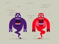 genie monsters in a poop bottles