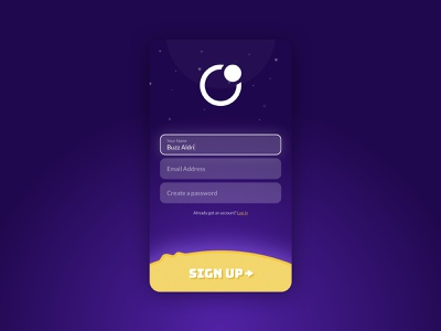 Loonatix - Sign up log in sun planet stars galactic game space interface app form registration signup
