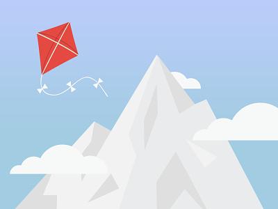 Mountain & Kite Illustration mountain kite illustration flat vector clouds sky horizon