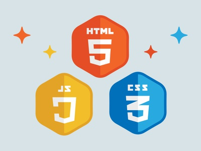 HTML5 Stack Badges html html5 web technology badge flat css javascript hexagon