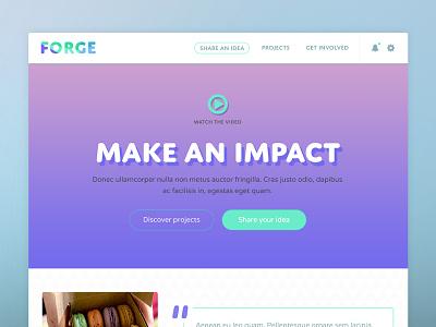Forge UI flat web design web ui header website teal purple gradient hero forge notification