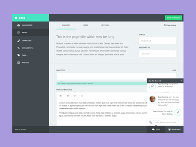 Yoomee CMS cms content management system interface flat edit menu sidebar content