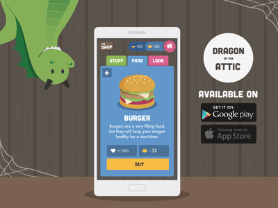 Dragon in the Attic shop burger one page attic dragon game ios android promo app
