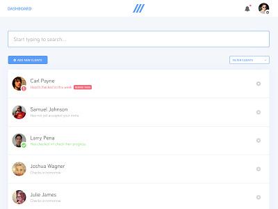 Dashboard UI clients list search dashboard
