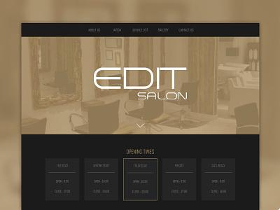 Edit salon website header hero web design one page dark website