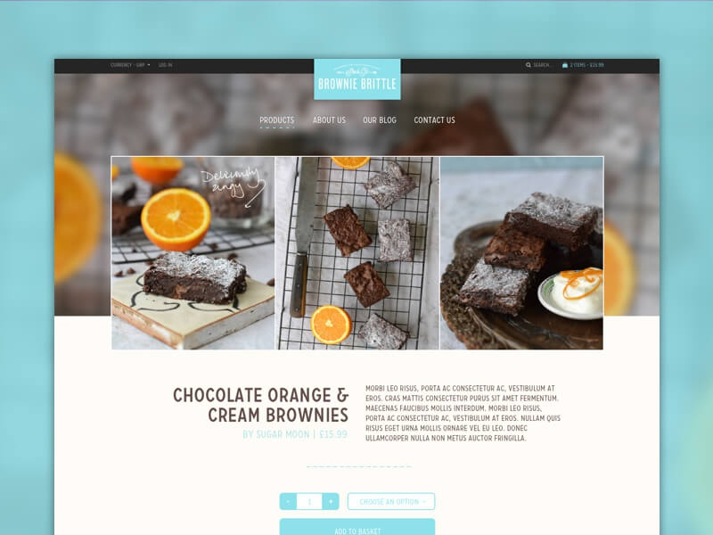 Shopify theme template website food brownies shop ecommerce shopify theme template