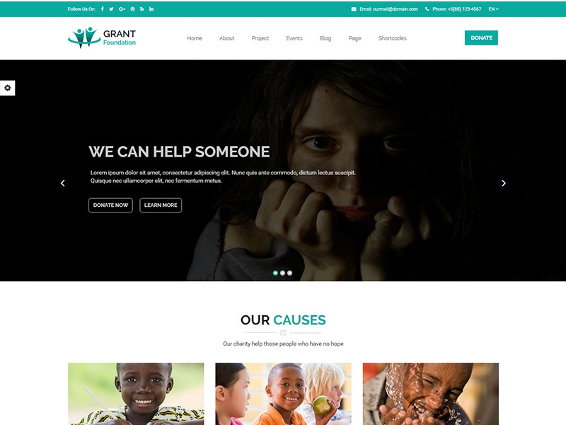 Grant Foundation – Nonprofit Charity Template html template html fund raising foundation donation donate charity cause