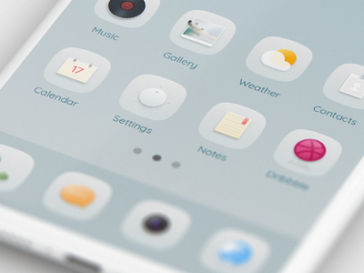 Hello,Dribbble notes setting calendar contacts weather gallery music theme icon