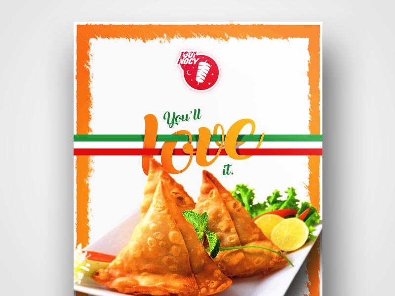 You'll Love It plakat design 1001nocy samosa food poster