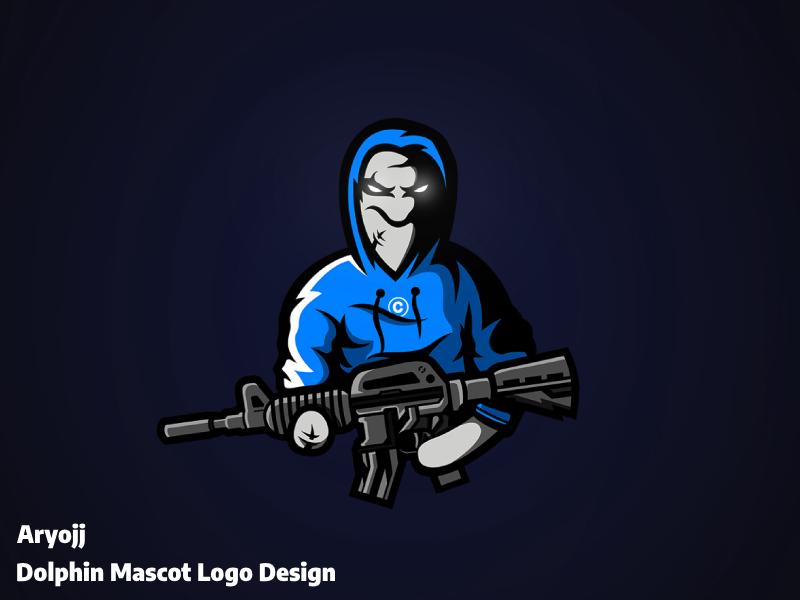 M4 Dolphin sold esports gaming gun logo mascot dolphin m4